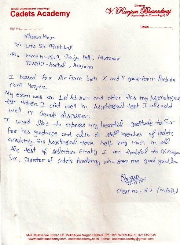 Testimonial of JAG (Women) Entry