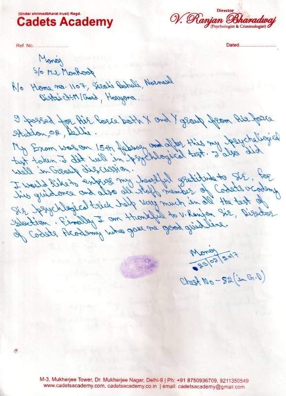 Testimonial of SSR(Indian Navy)